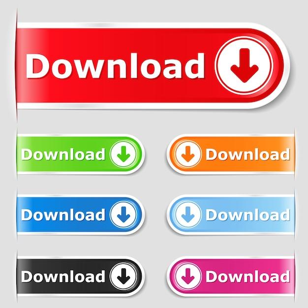 Botões de download Vetor Premium