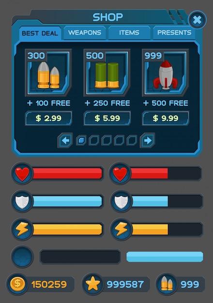 Botões de interface definidos para aplicativos ou jogos espaciais Vetor Premium