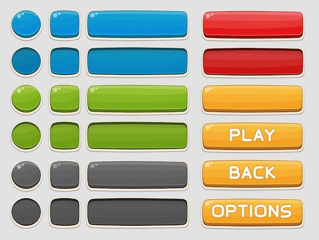 Botões de interface definidos para jogos ou aplicativos Vetor Premium