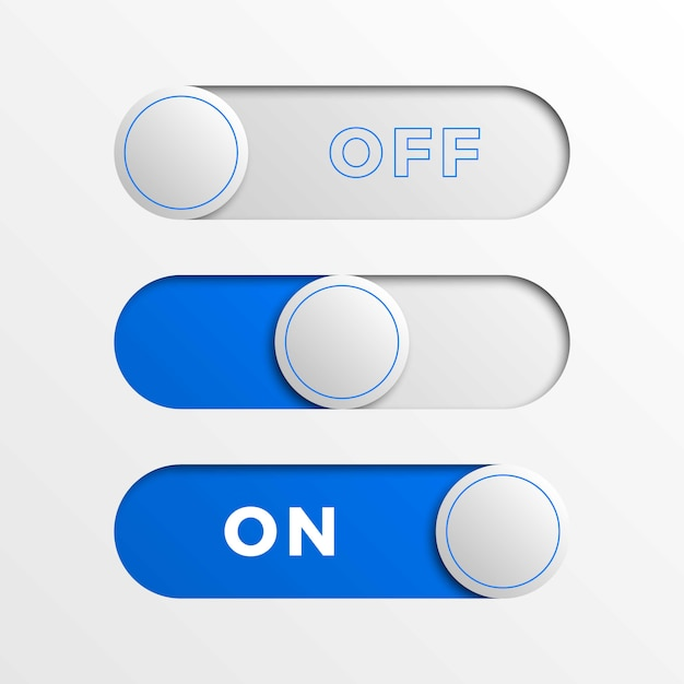 Botões de interface do interruptor azul. 3d realista on / off slider Vetor Premium