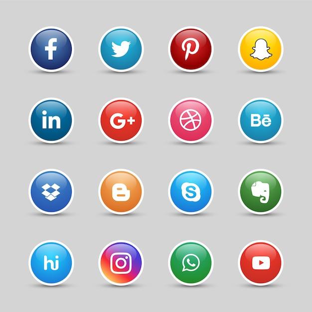 Botões de mídia social Vetor Premium