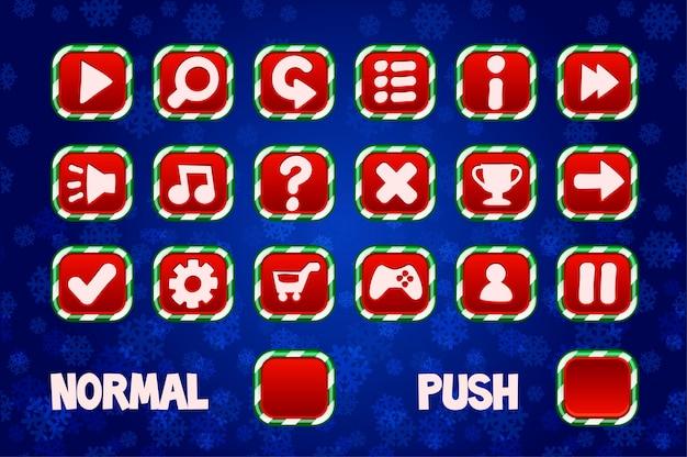 Botões de natal para interface de usuário de jogos 2d. botão normal e quadrado. Vetor Premium