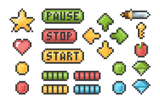 Botões de pixel. conjunto de pixels de elementos de interface do usuário de barras de menu de troféu pictograma de videogames retrô. coleção de jogos de botões de ilustração, pixel retro da web Vetor Premium
