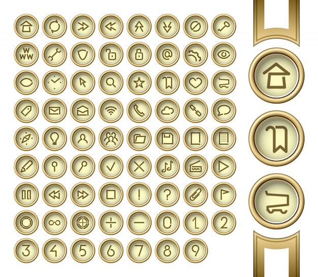 Botões dourados Vetor Premium