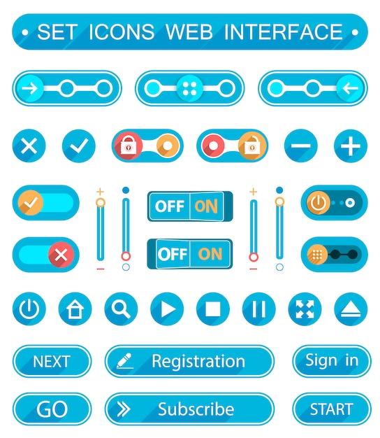 Botões e interruptores azuis em estilo minimalista Vetor Premium