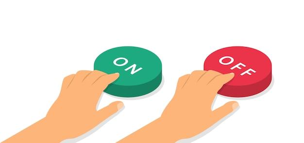 Botões liga / desliga em isometria. conceito de botões de pressão de mãos. Vetor Premium