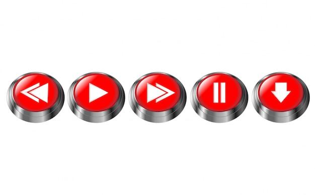 Botões multimídia redondos vermelhos. pausar, reproduzir, próximo, anterior, botão de download. ícone de moldura cromada brilhante. ilustração em vetor 3d isolada Vetor Premium