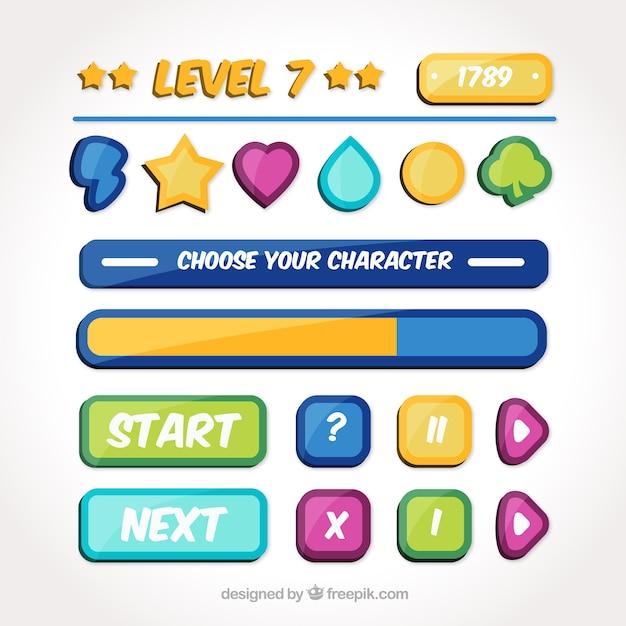 Botões para jogos de vídeo Vetor grátis