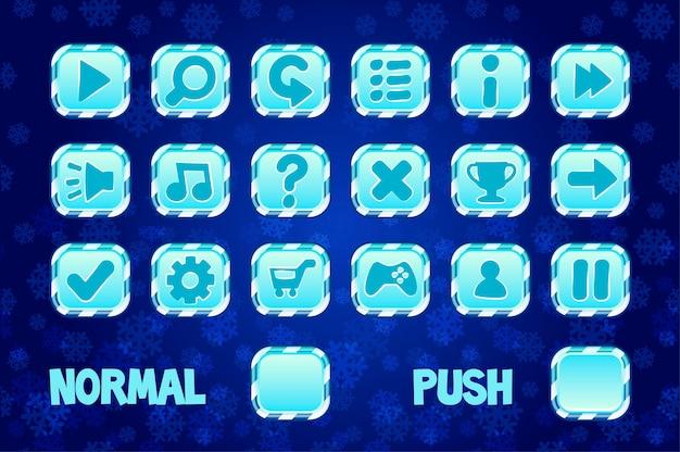 Botões quadrados para design de jogos móveis ou de computador. normal e botão de pressão. Vetor Premium