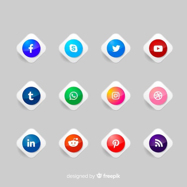 Botões realistas com coleção de logotipo de mídia social Vetor grátis