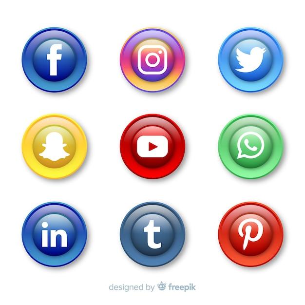 Botões realistas com coleção de logotipo de mídia social Vetor Premium