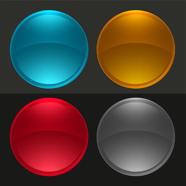 Botões redondos brilhantes ou conjunto de bolas de vidro Vetor grátis