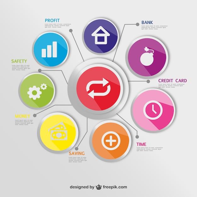 Botões redondos economia infográfico Vetor grátis