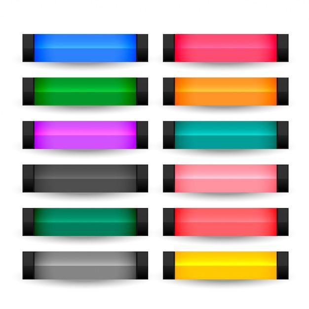 Botões retangulares definidos em várias cores Vetor grátis