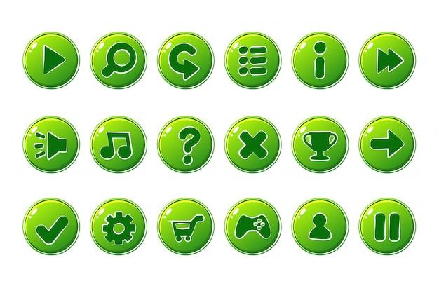 Botões verdes para a interface do jogo Vetor Premium