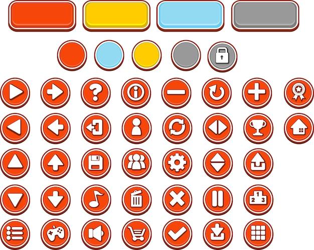 Botões vermelhos do jogo Vetor Premium