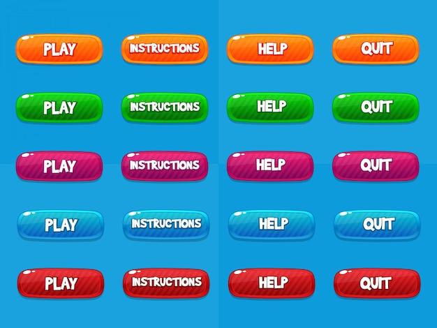 Botões web, elementos de design de jogos Vetor Premium