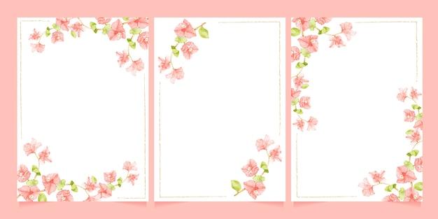 Bougainvillea rosa aquarela com moldura de linha mínima para coleção de modelos de cartão de convite de casamento ou aniversário Vetor Premium