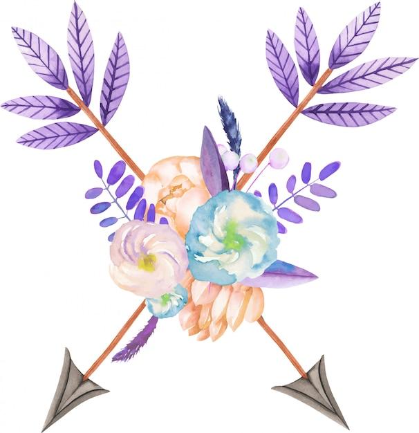 Bouquet com flores em aquarela e flechas Vetor Premium