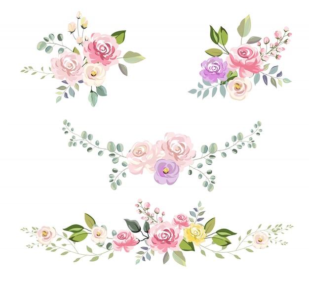 Bouquet floral aquarela para decoração de convite Vetor Premium