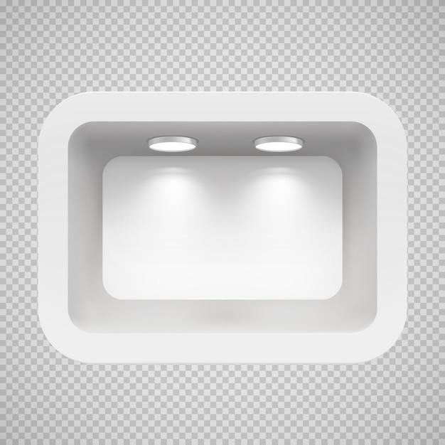 Boutique na parede superior com fontes de luz. Vetor Premium
