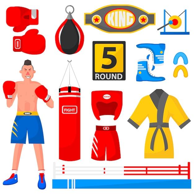 Boxer, equipamento desportivo e uniforme. Vetor Premium