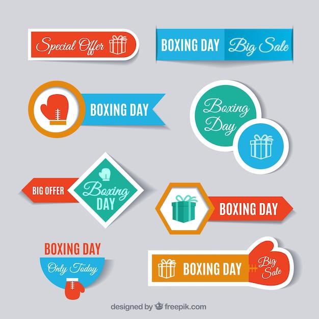 Boxing dia etiqueta a coleção Vetor grátis