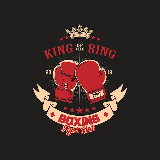 Boxing gloves club badge ilustração Vetor Premium