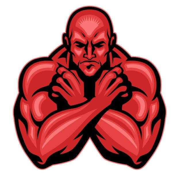 Braço de cruzamento de mascote de lutador Vetor Premium