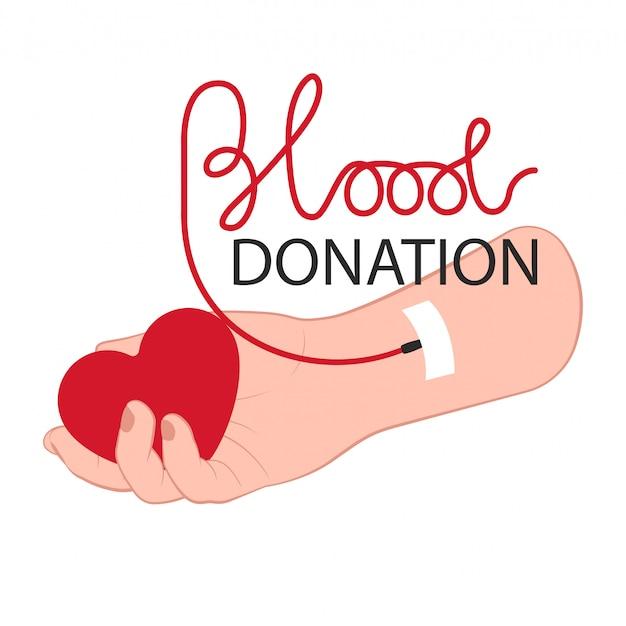 Braço doador com coração e lettering conceito de doação de sangue para o dia de doação de sangue Vetor Premium