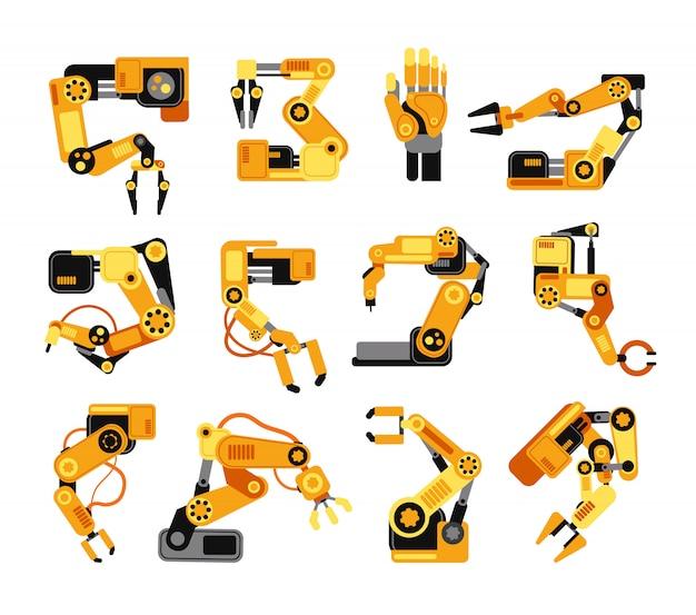 Braços robóticos industriais fabricação conjunto de vetor de equipamentos de montagem de tecnologia Vetor Premium