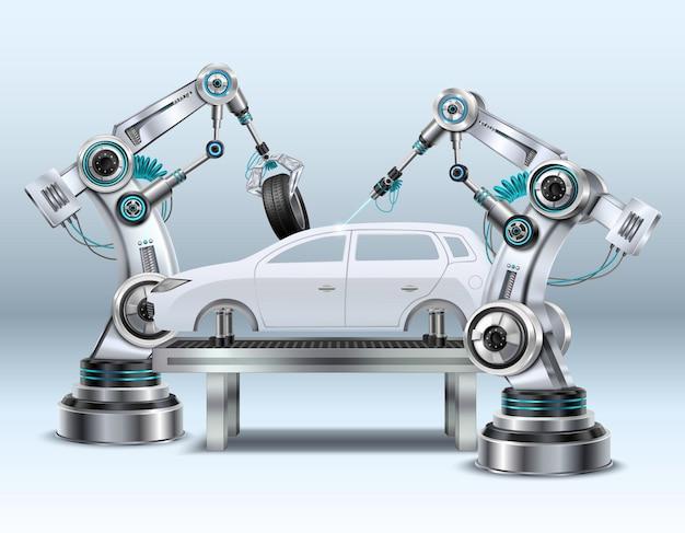Braços robóticos no processo de fabricação de linha de montagem de carro na indústria automotiva composição realista closeup imagem Vetor grátis