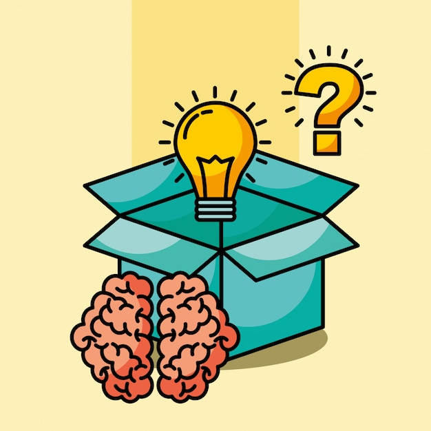 Brain creative idea box questão de bulbo Vetor Premium