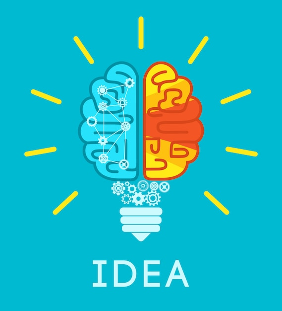 Brain idea concept Vetor grátis