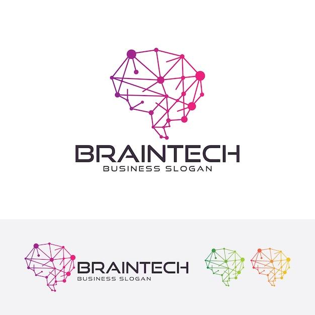 Brain tech, modelo de logotipo Vetor Premium