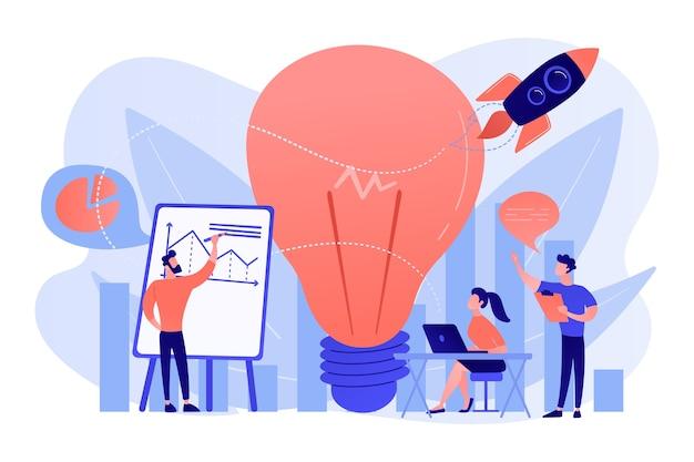 Brainstorm de equipe de negócios, lâmpada e foguete. declaração de visão, missão empresarial e empresarial, conceito de planejamento de negócios em fundo branco. Vetor grátis
