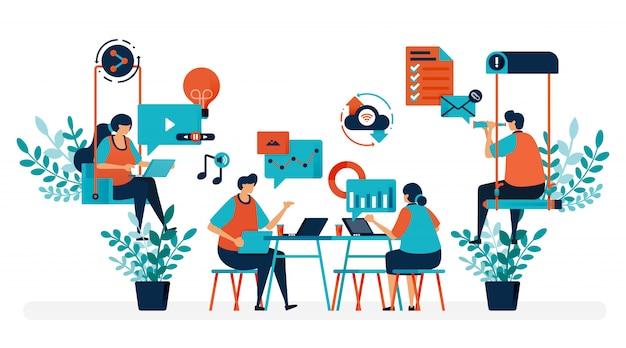 Brainstorming para resolver o problema. escritório de inicialização com balanço. local de trabalho moderno ou espaço de coworking. brincar e trabalhar. Vetor Premium