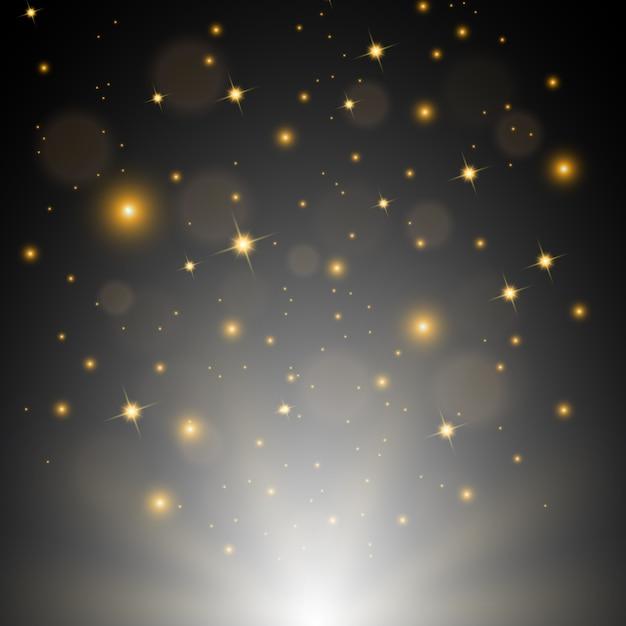 Branco brilhando com brilhos dourados voando ilustração vetorial Vetor Premium