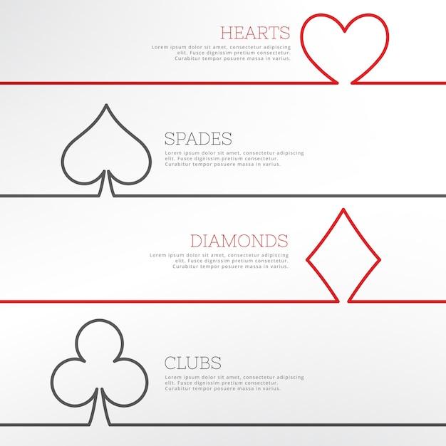 Branco casino com símbolos dos cartões de jogo Vetor grátis