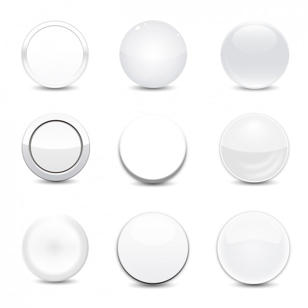 Branco conjunto botão redondo Vetor grátis