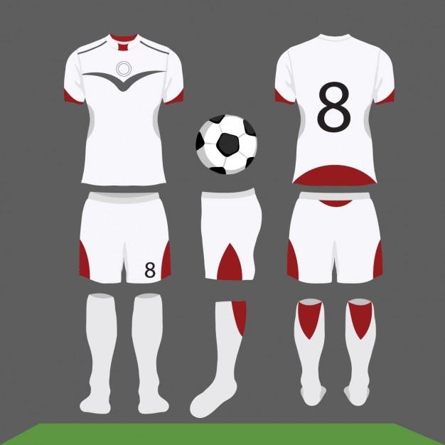 Branco e kit de futebol vermelho Vetor grátis