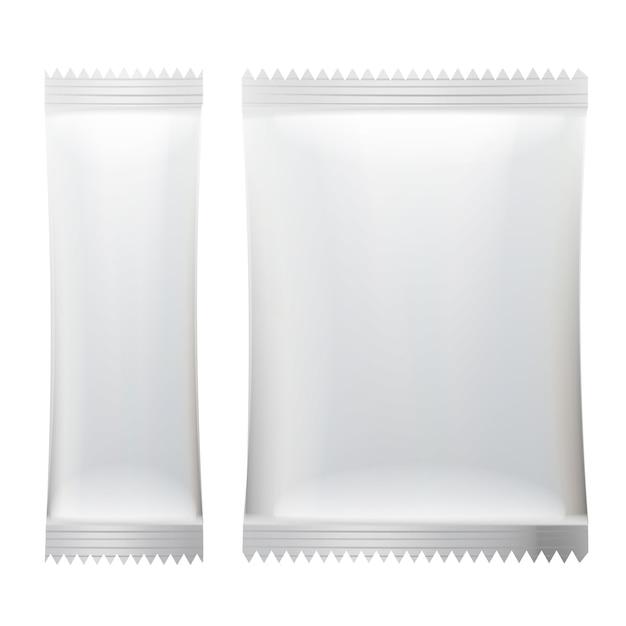 Branco em branco de embalagem de saquinho vara. Vetor Premium