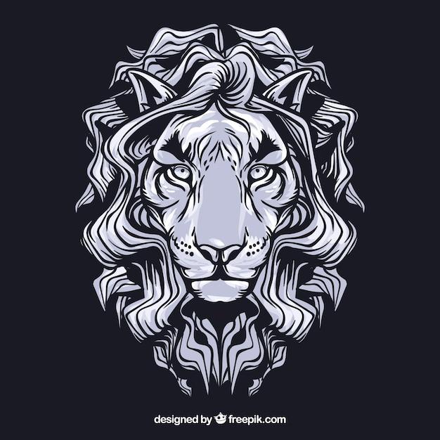 Branco leon rosto vector clip art Vetor Premium