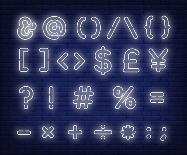 Branco, mensagem, símbolos, sinal néon Vetor grátis
