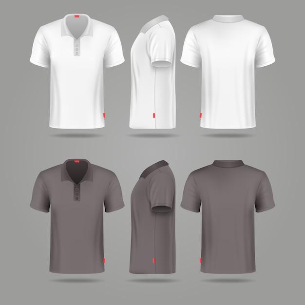 Branco preto mens polo t-shirt frente vista traseira e lateral vector maquetes. tshirt de moda modelo para Vetor Premium