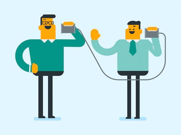 Brancos amigos brancos falando através do telefone de lata. Vetor Premium