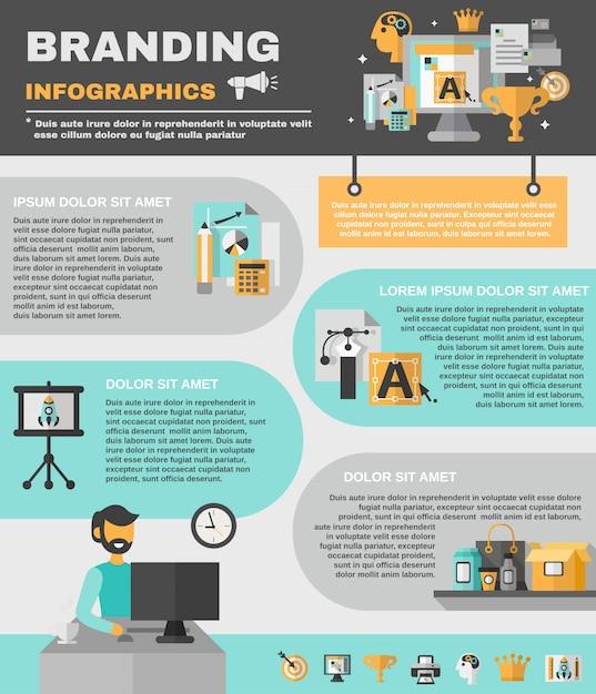 Branding infographics set Vetor grátis