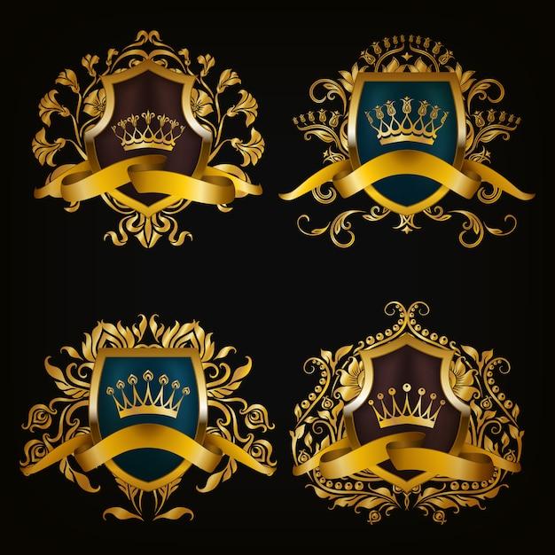 Brasão de armas com coroa Vetor Premium