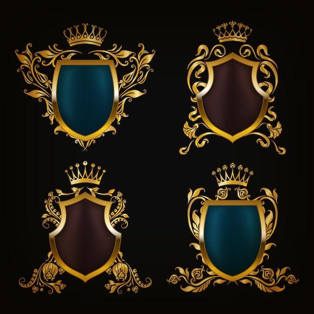 Brasão de armas definir escudos decorativos Vetor Premium