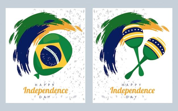 Brasil feliz celebração do dia da independência com balão de hélio e maracas Vetor Premium